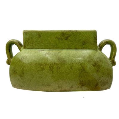 Vintage Green Stone Vase with Handles, medium