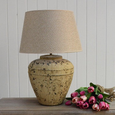 Lamp Ceramic Marius with Table Shade and textured stone looking  beige base