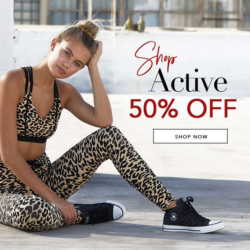 Shop Active 50% Off - Model is wearing the Preston Bralette & Victoria Legging in Leopard