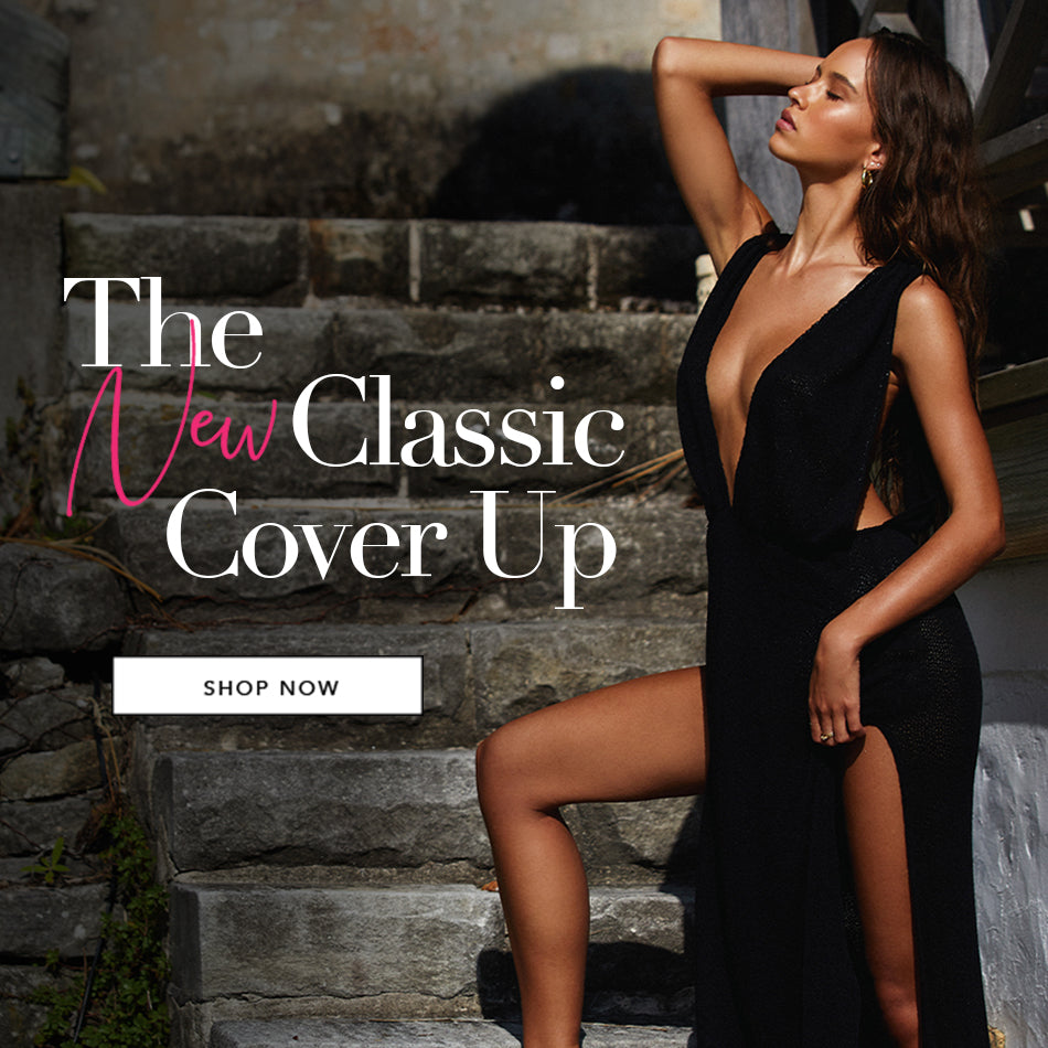 The New Classic Cover Up - Model is wearing the Annika Maxi Dress in Black.