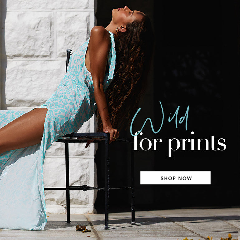 Wild For Prints - Model is wearing the Lily Maxi Dress in Aqua Leopard.