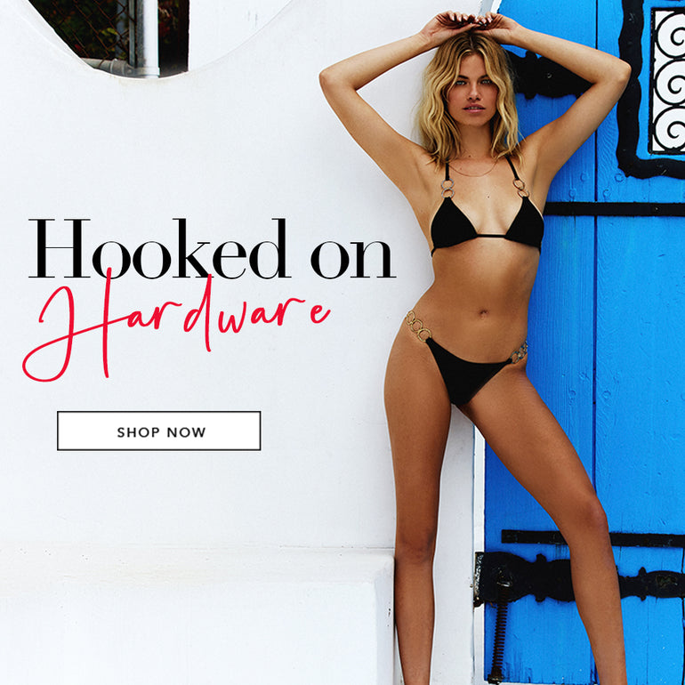 Hooked on Hardware - Model is wearing the Nadia Triangle Top & Lexi Tango Bottom in Black.
