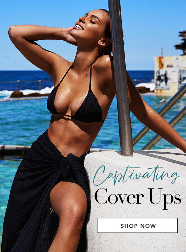 Captivating Cover Ups - Model is wearing the Emma Triangle Top & Haven Pareo in Black.