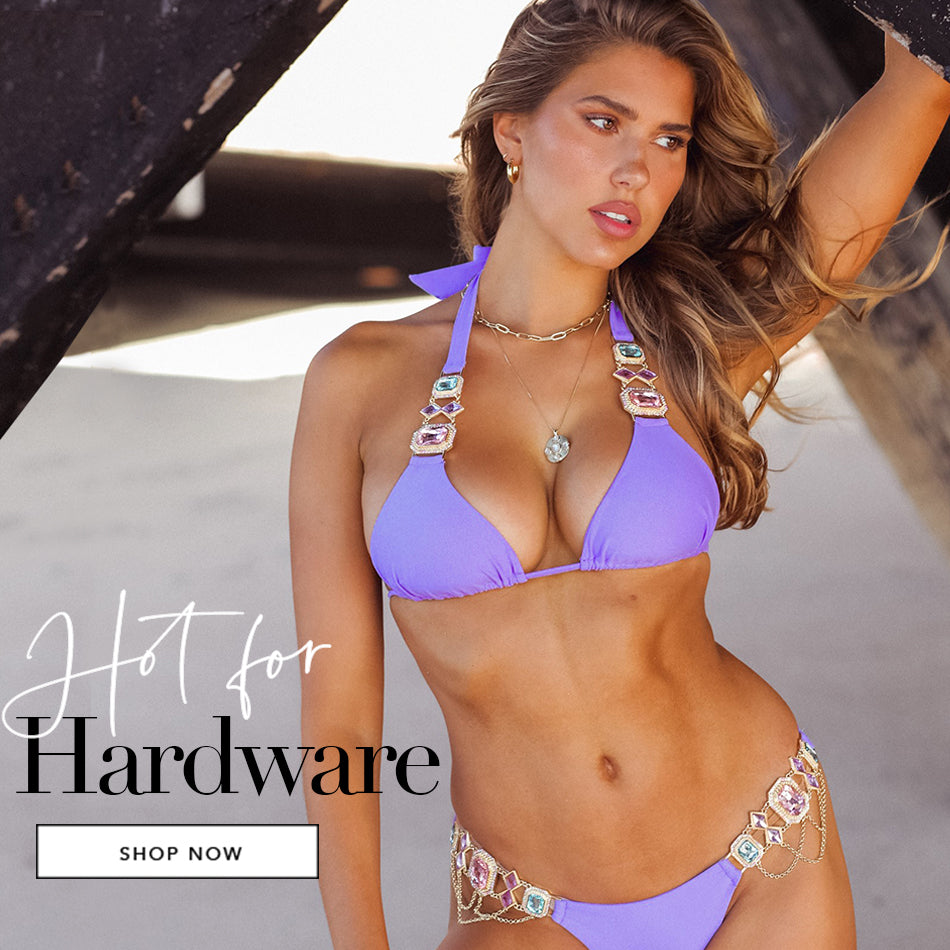 Hot for Hardware - Model is wearing the Jazmin Halter Top & Skimpy Bottom in Lilac