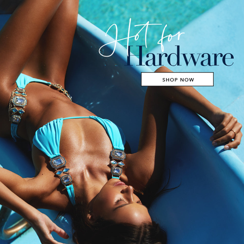 Hot for Hardware - Model is wearing the Jazmin Halter Top & Skimpy Bottom in Sky Blue.