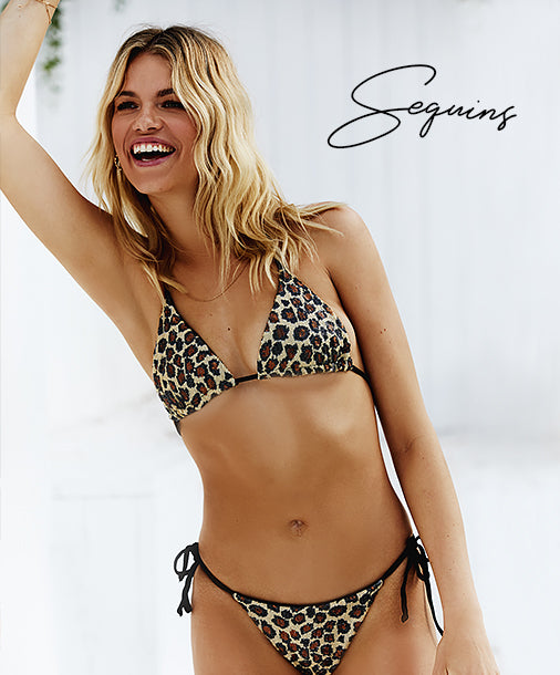 Sequins - Model is wearing the Shiloh Triangle Top & Tie Side Bottom in Leopard