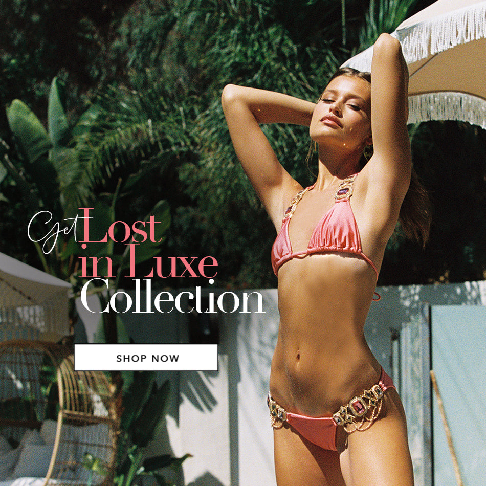 Get Lost in Luxe Collection - Model is wearing the Jazmin Bikini in Rose