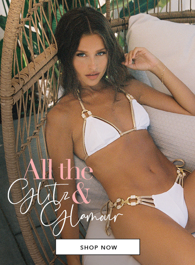 All the Glitz & Glamour - Model is wearing our Madagascar Glam Triangle Top & Tie Side Bottom in White.