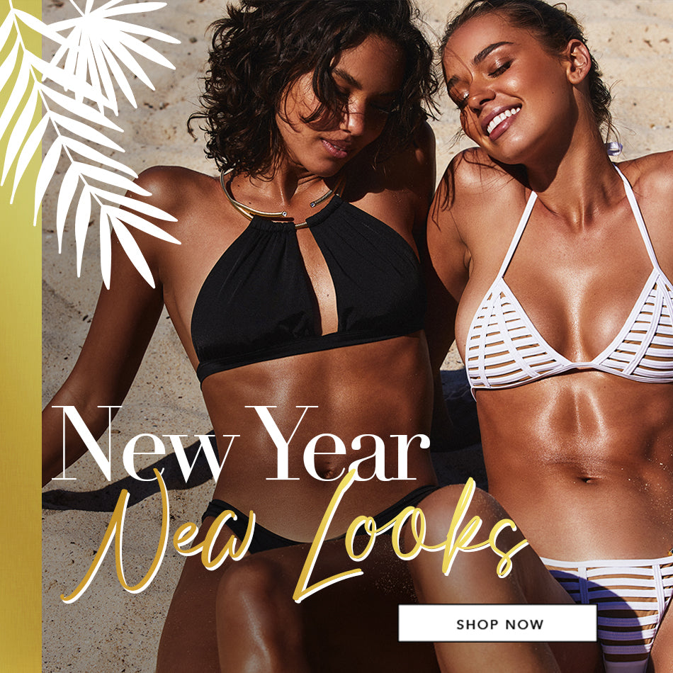 New Year, New Looks - Models are wearing the Madison High Apex Top in Black, and Hard Summer Triangle Top in White.