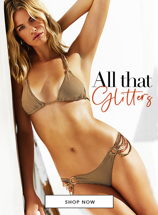 All That Glitters - Model is wearing the Sierra Triangle Top & Skimpy Bottom in Tortuga