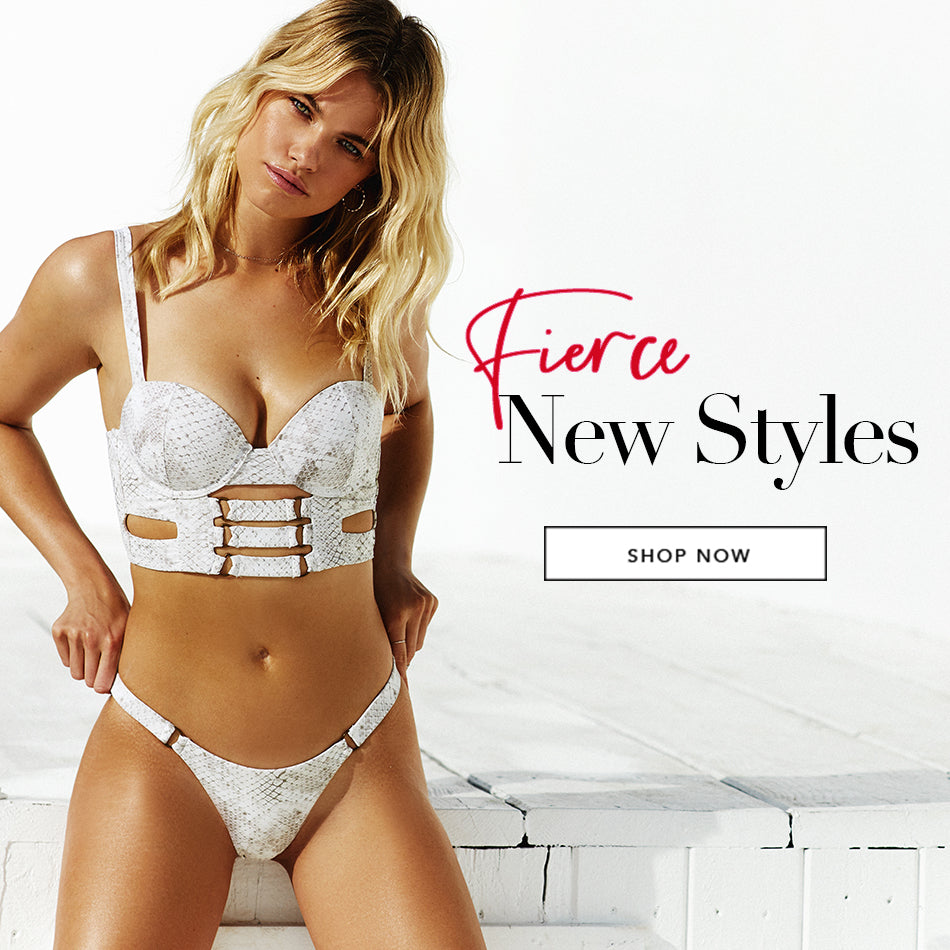Fierce New Styles - Model is wearing the Kingston Bustier Top & Kingston Tango Bottom in Snake