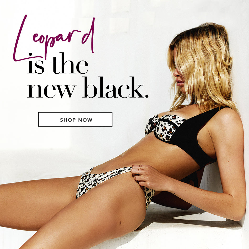 Leopard is the new black - Model is wearing the Karter Bralette & Aria Skimpy Bottom in Leopard.
