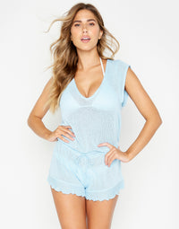 Blue Annika Cute Beach Romper - front view