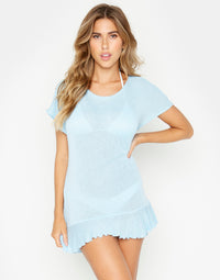 Annika Tunic Ruffle Mini Dress in Light Blue - front view