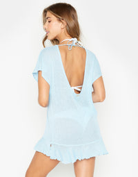 Annika Tunic Ruffle Mini Dress in Light Blue - back view