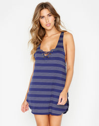 Navy Gia Tank Dress for Beach Coverup - front view