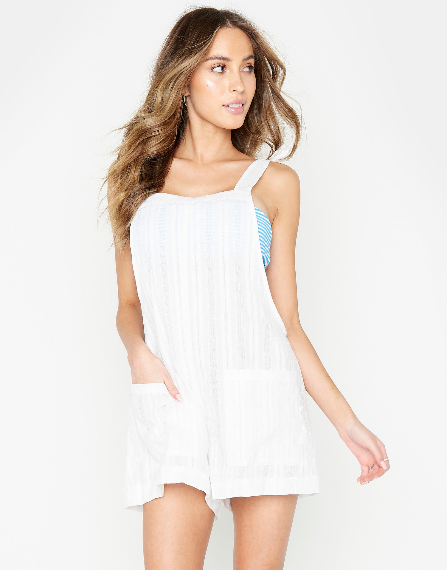 Sunny Romper Cover Up in White - front view