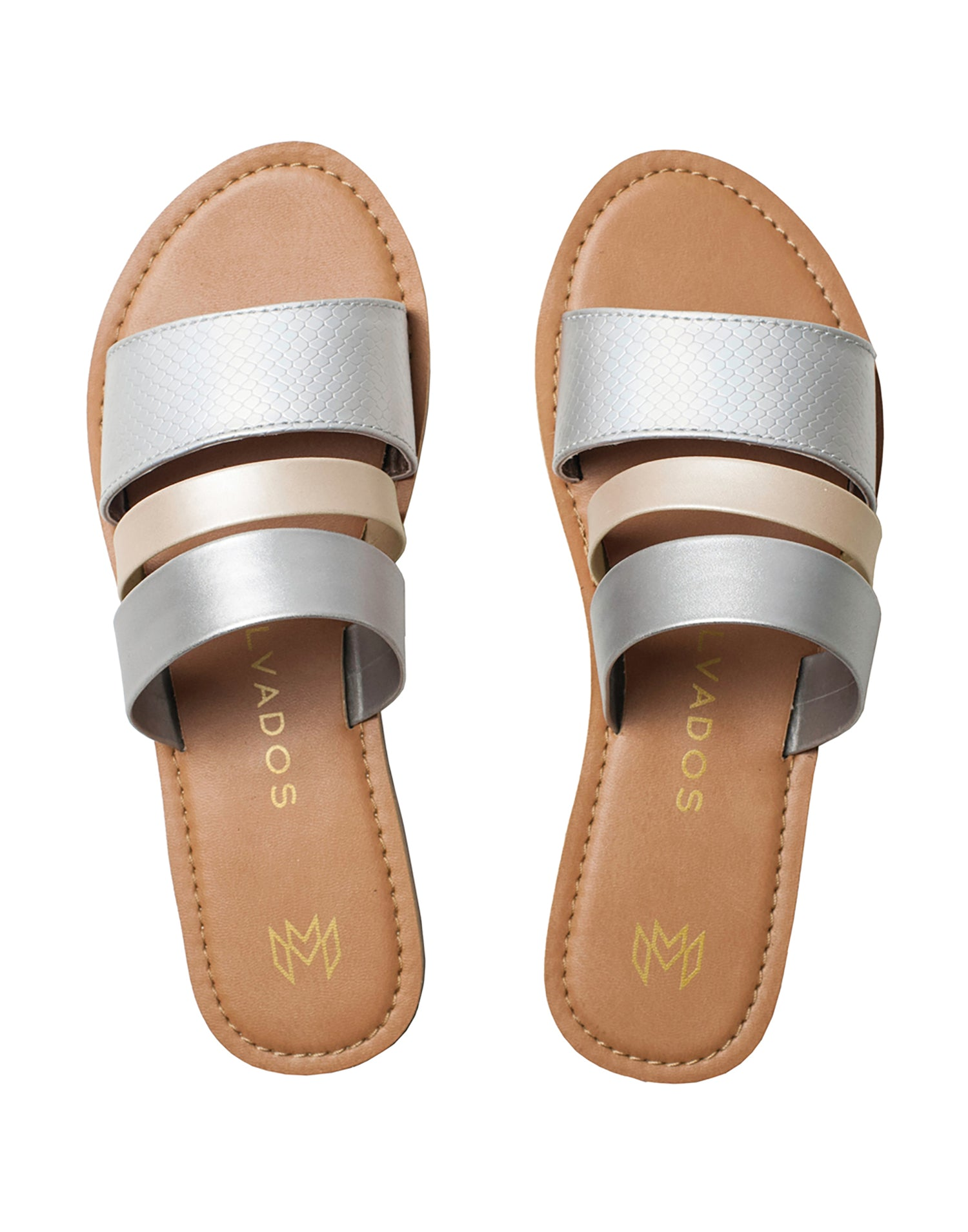 Malvados Icon Adele Sandals in Grey/Gold - product view