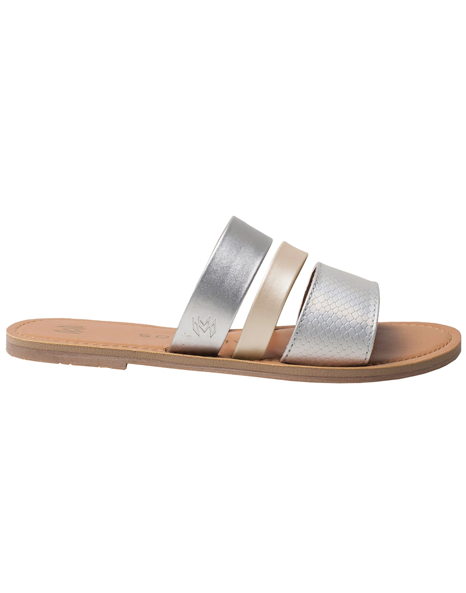 Malvados Icon Adele Sandals in Grey/Gold - side view