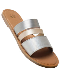 Malvados Icon Adele Sandals in Grey/Gold - angled view