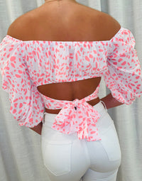 Pretty in Pink Apparel Crop Top with Bell Sleeves in Pink Leopard - Back View