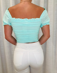 Chloe Crop Apparel Top in Mint with Drawstring Details - Back View