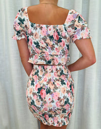 Apparel Crop Top with Front Knot Tie & Mini Skirt with Drawstring Details in Cherry Blossom Floral - Back View