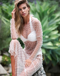Champagne Nights Cover Up Mesh Dress in Peach with Pearl & Rhinestone Details - Alternate Front View