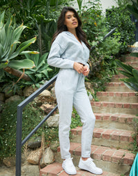 Glam Lounge Crop Hoodie & Sweatpant Set in Heather Grey - Angled View