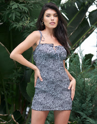 Make It A Date Apparel Mini Dress in Black White Floral - Front View