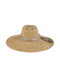 Florabella's Alejandra Beach Hat in Natural/Gold - Product View