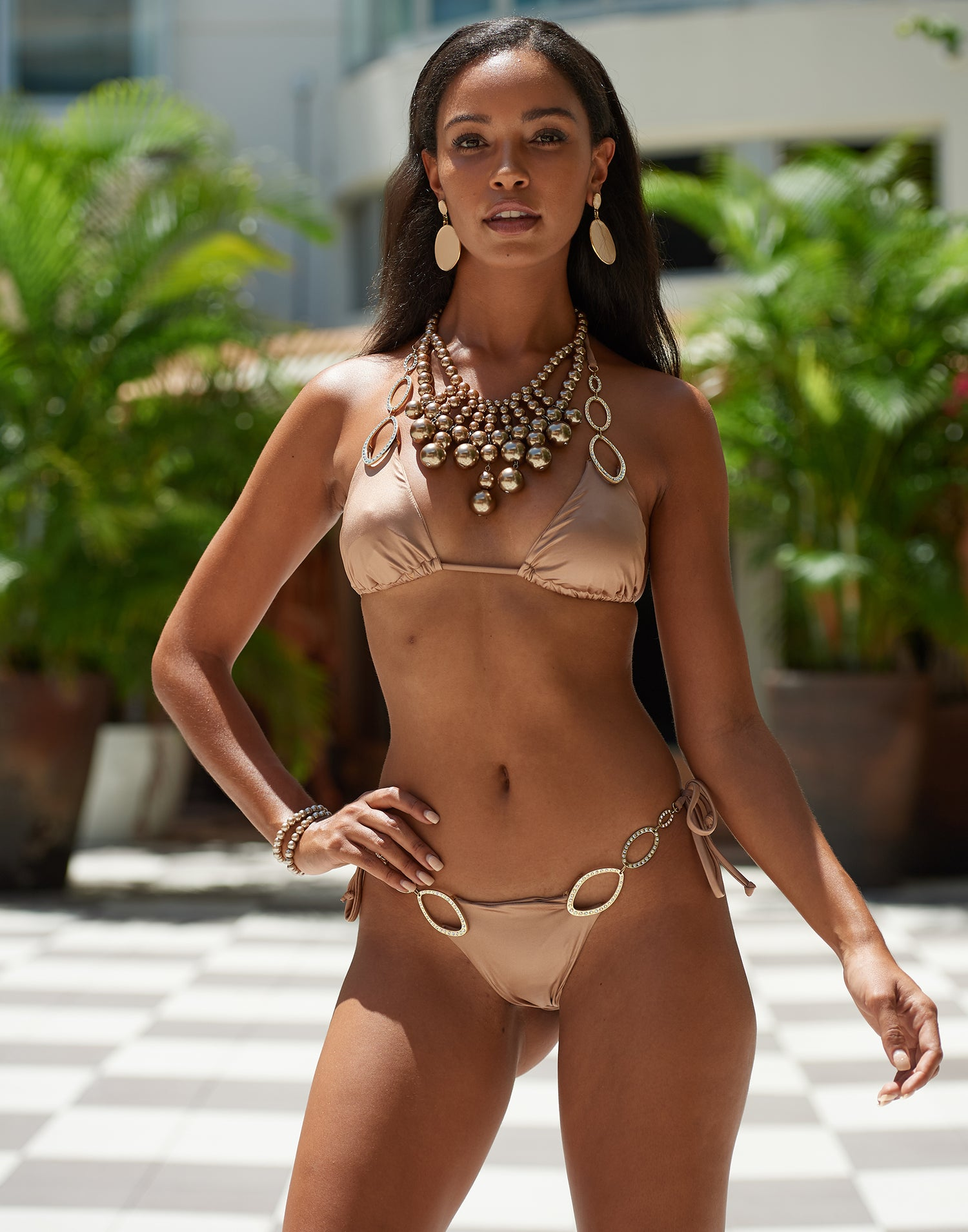 Paisley Triangle Bikini Top in Brown Sugar with Gold Hardware - Alternate Front View / Spring 2021 Miami Runway Show