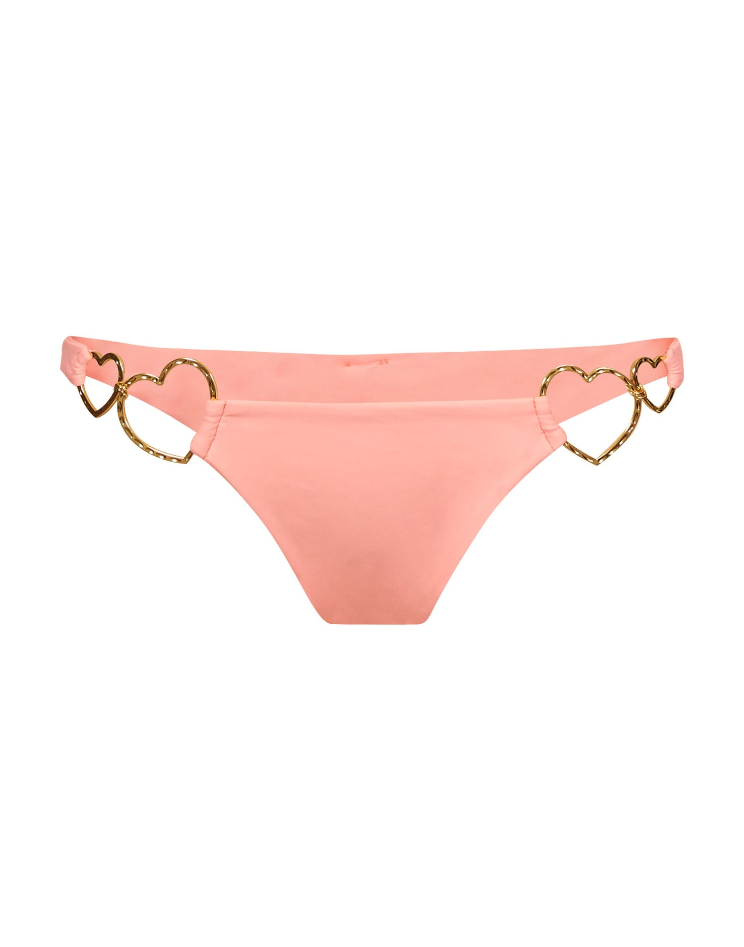 Nadia Love Skimpy Bikini Bottom in Cherry Blossom with Gold Heart Hardware - product view