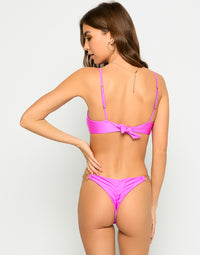 Lexi Love Bralette Bikini Top in Destiny Pink with Gold Heart Hardware - Back View