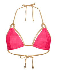 Madagascar Glam Sexy Triangle Bikini Top in Barbie with Gold Hardware - product view