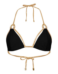 Madagascar Glam Sexy Triangle Bikini Top in Black with Gold Hardware - product view