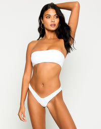 London Bralette Bikini Top in White without Straps - Front View