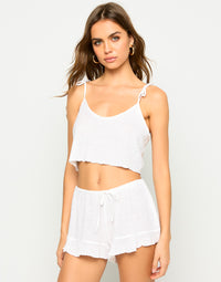 Annika Cover Up Drawstring Short in White - Alternate Front View