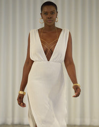 Annika Beach Cover Up Maxi Dress in White - Alternate Front View / Summer 2021 Miami Runway Show