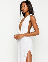 Annika Beach Cover Up Maxi Dress in White - Detail View