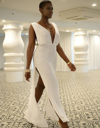 Annika Beach Cover Up Maxi Dress in White - Angled View / Summer 2021 Miami Runway Show