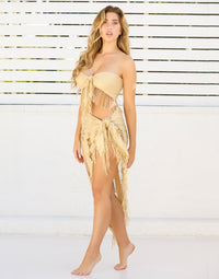 Indian Summer Long Pareo Cover Up Sarong with Fringe Detail in Gold - Angled View