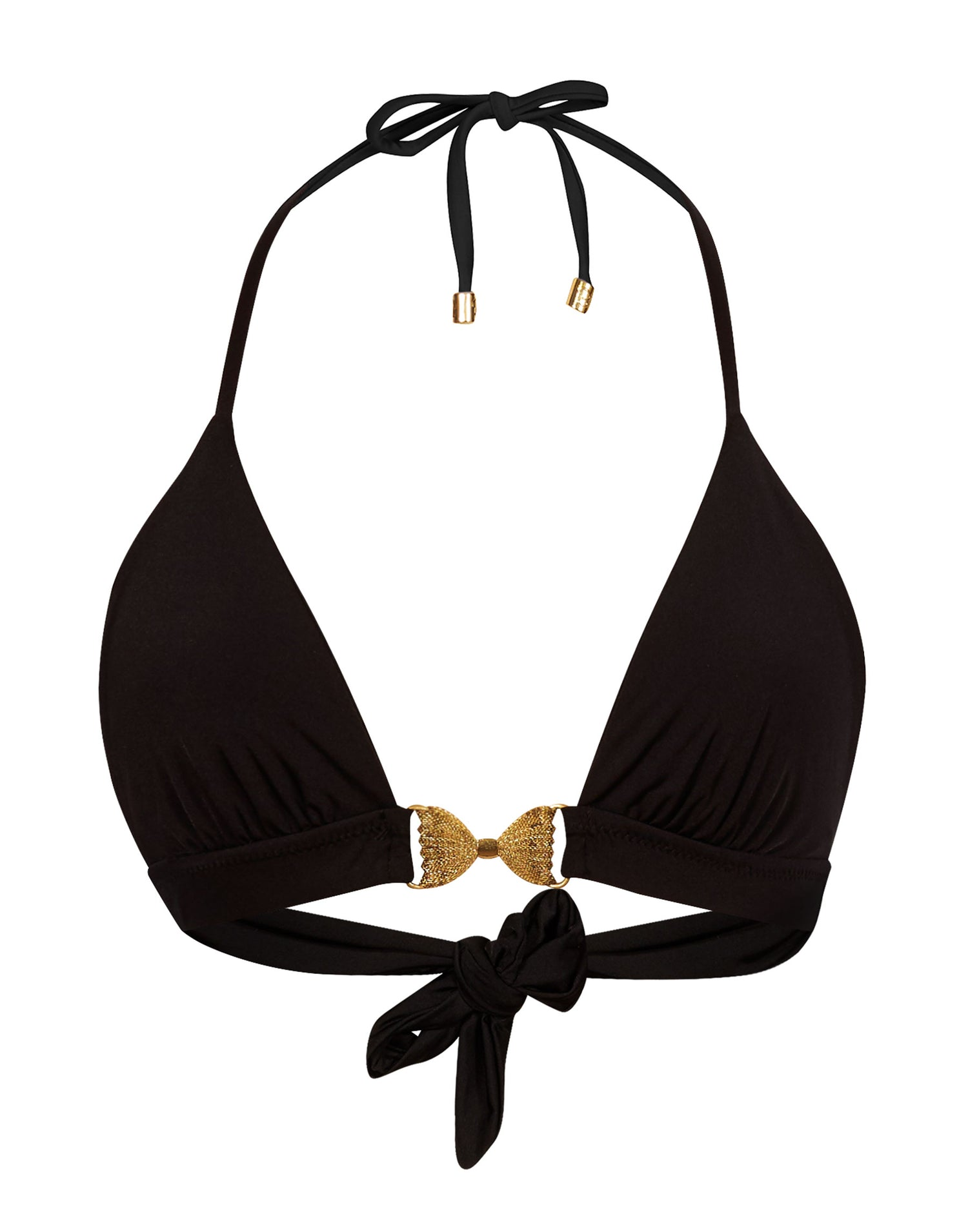 Smith Sexy Triangle Top in Black with Gold Bow Hardware - product view