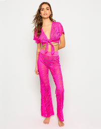 Miller Cover Up Crop Top in Neon Pink wit Front Tie Closure - Alternate Front View