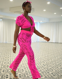 Miller Cover Up Crop Top in Neon Pink wit Front Tie Closure - Angled View / Summer 2021 Miami Runway Show