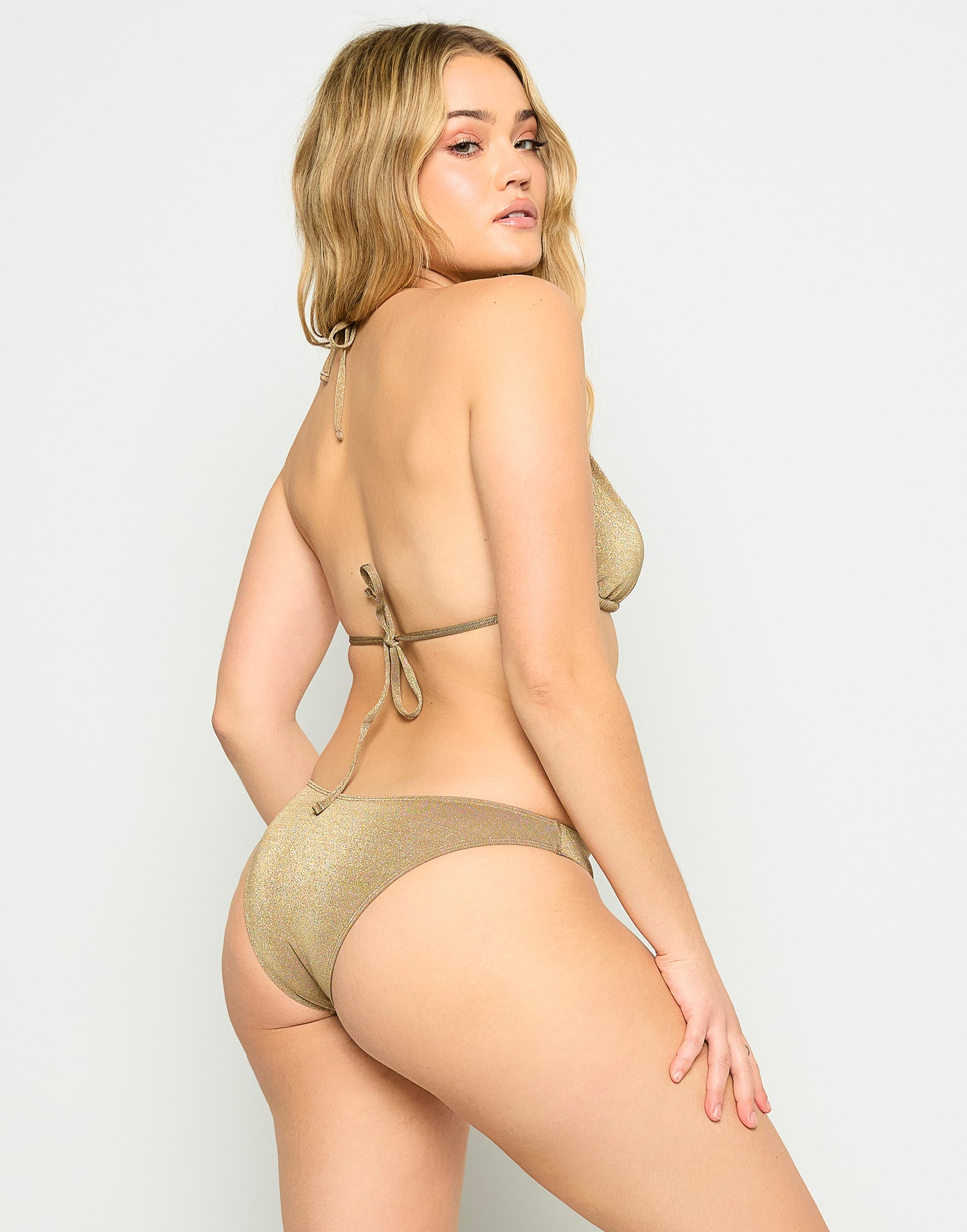 Madison High Apex Bikini Top in Tortuga with Gold Hardware - Alternate Back View