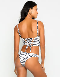 Kingston Bustier Bikini Top in Zebra with Lace Up Detail - Back View