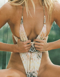 Brooklyn One Piece in Snake Multi with Gold Chain Hardware - Detail View / Summer 2021 Campaign - Josie C