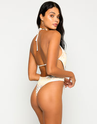Brooklyn One Piece in Snake Multi with Gold Chain Hardware - Back View