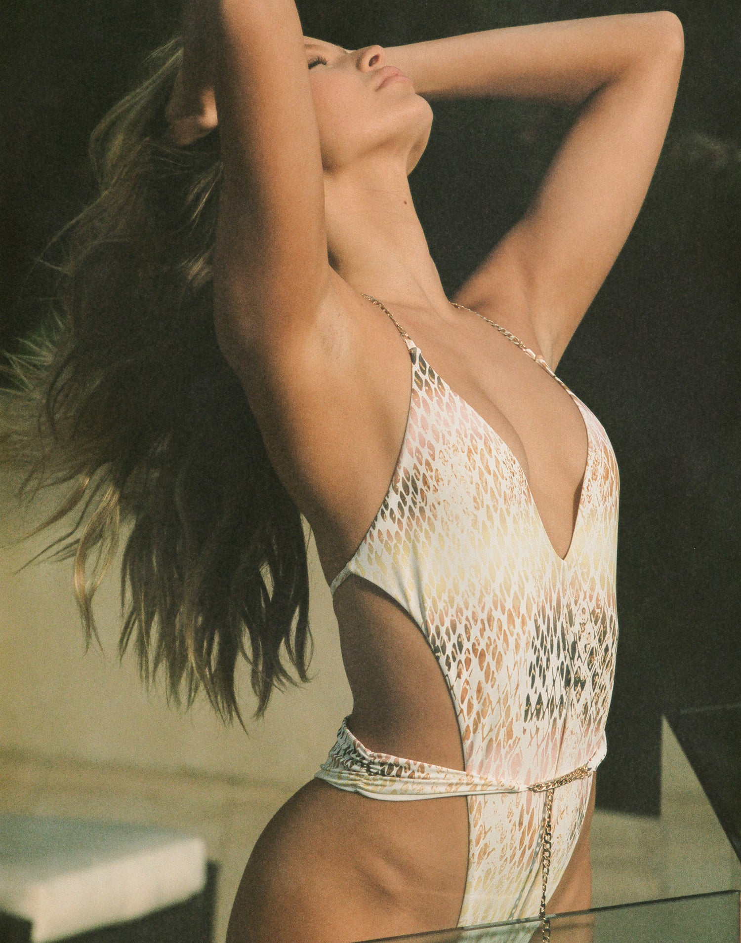 Brooklyn One Piece in Snake Multi with Gold Chain Hardware - Alternate Angled View / Summer 2021 Campaign - Josie C